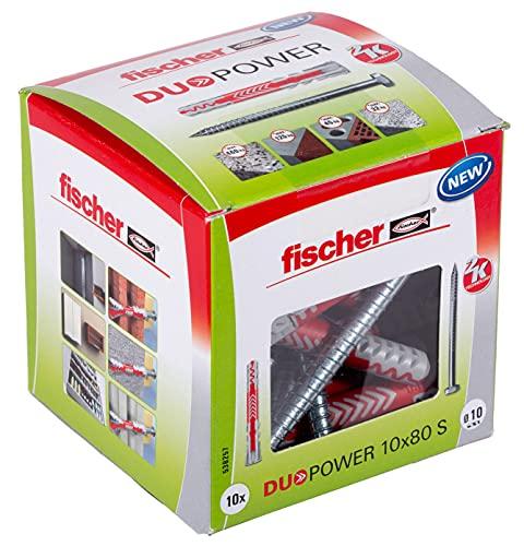 fischer - Tacos y tornillos para pared 10x80 DuoPower, tacos para hormigón, Caja tacos 10 uds