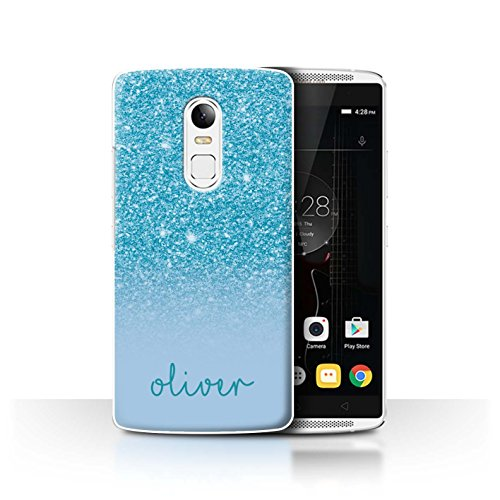 Personalisiert Hülle Für Lenovo Vibe X3 Persönlich Glitter Effekt Türkis Design Transparent Ultra Dünn Klar Hart Schutz Handyhülle Hülle