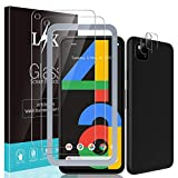 LϟK 2 Pack Camera Lens Protector & 2 Pack Tempered Glass Screen Protector Compatible for Google Pixel 4a 5.8 inch, 9H Hardness, Not for Pixel 4a 5G 6.2 inch, Installation Tray - Gray
