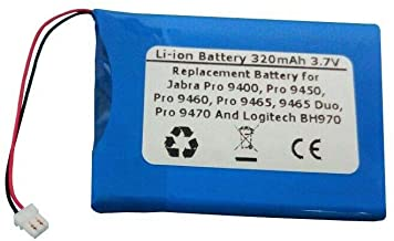 320mAh/3.7V Replacement Battery for Jabra Pro 9400, Pro 9450, Pro 9460, Pro 9465, 9465 Duo, Pro 9470 and Logitech BH970 Wireless Headsets