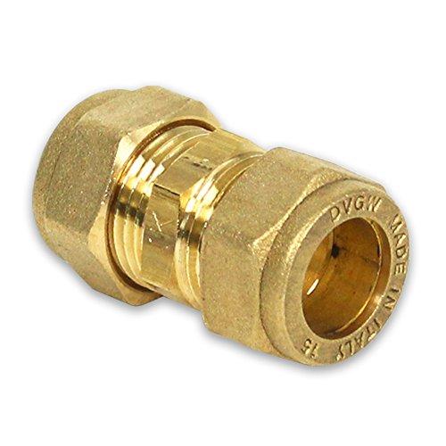 Messing-Klemmverschraubung für Kupferrohre, Kupplung, 15-15mm