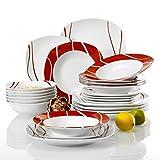Malacasa Felisa, Servizio da tavola per 4/6/8/12 persone, colore: rosso, Porcellana, 24 Pi...