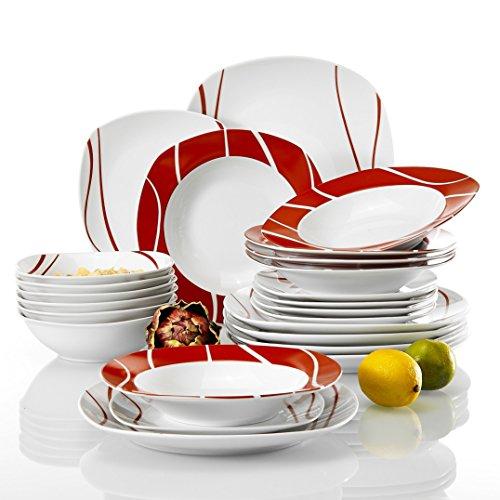 Malacasa Felisa, Servizio da tavola per 4/6/8/12 persone, colore: rosso, Porcellana, 24 Piece, 24-PIECE Dinner Set