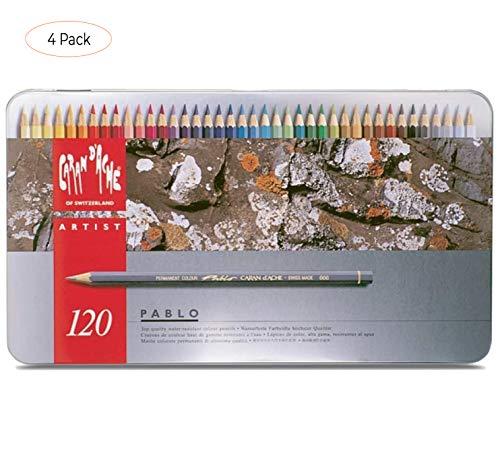 Caran d'Ache Pablo Colored Pencil Set Of 120 Metal Box (666.420) (Four Pack)