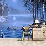 Fotomural Pintura Mural 3D 450X350cm Lobo Nadando Murales Personalizados Papel Tapiz 3D Minimalista Moderno Foto Pintura Mural Sala De Estar Niños Dormitorio