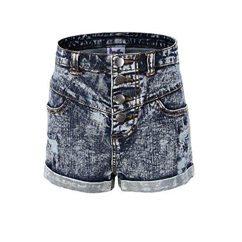 Bienzoe Bienzoe Mädchen Weiche Hohe Taille Löcher Gerissen Dehnbar Jeans Shorts Größe 8