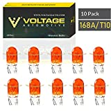 Voltage Automotive 168A 168 Amber T10 Bulb For License Plate Light Side Marker Automotive Interior Light Dashboard Dome Light (Box of 10)