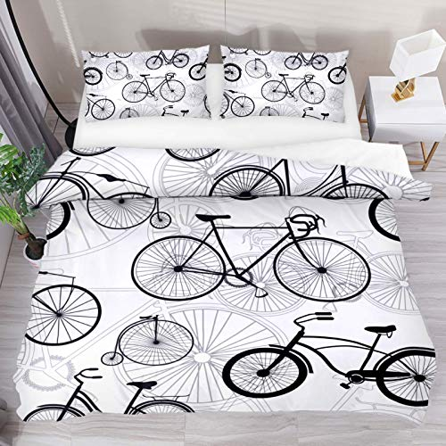 HEOEH Bicycle Pattern Duvet Cover Set, Bedding Sets with Zipper Closure,1 Duvet Cover + 2 Pillow Shams, Queen Size, No Comforter