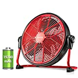 Geek Aire 19200mAh 16-Inch Rechargeable Battery Operated Floor Fan, Powered High Velocity Air Circulating Fan, Up to 24 Hours, Portable Metal Fan for Outdoor Camping Golf Car, Travel Hurricane, Indoor…