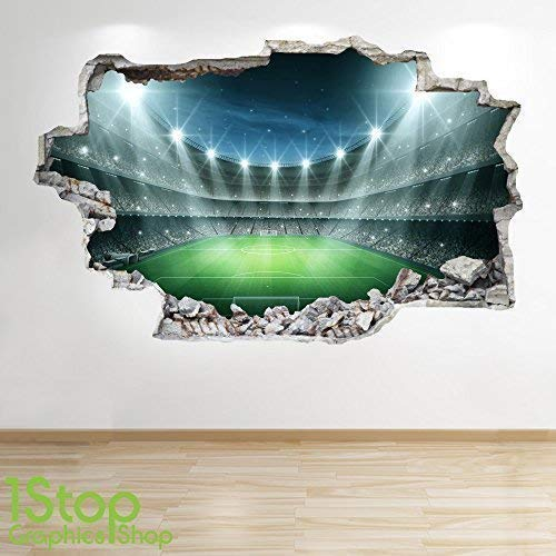 1Stop Graphics Shop FOOTBALL STADIUM WALL STICKER 3D LOOK - BOYS KIDS BEDROOM WALL DECAL Z80 Size: Large
