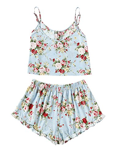 SheIn Women's Summer Floral Print Cami Top and Shorts Pajamas Set Large Blue