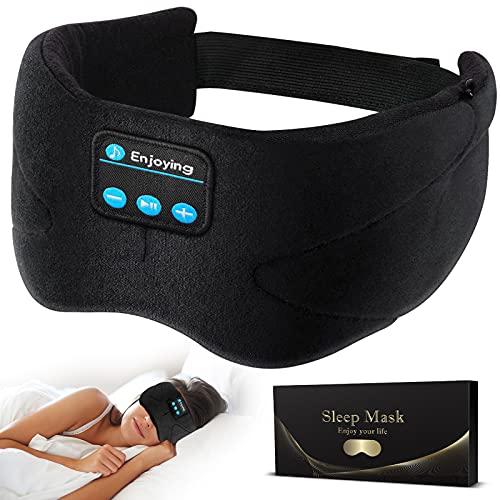 Wumingluu Masque de sommeil Bluetooth avec écouteurs, sans fil, Bluetooth 4.2, écouteurs intégrés et microphone, lavable pour les voyages et la sieste (mise à niveau)