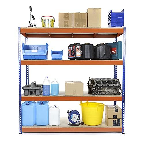 Stahlregal für die Garage, stabil, 400 kg Traglast pro Regalboden, 180 x 90 x 60 cm (H x B x T)