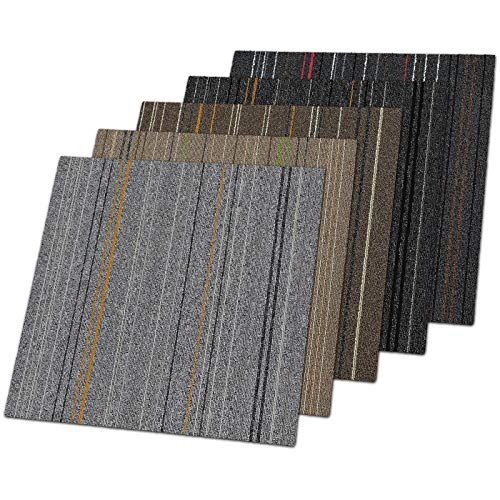 Teppichfliesen Warsaw | selbstliegend | Strapazierfähig und pflegeleicht | Bodenbelag für Büro und zu Hause | 50x50 cm | attraktives Streifen-Design (Hellgrau 21)
