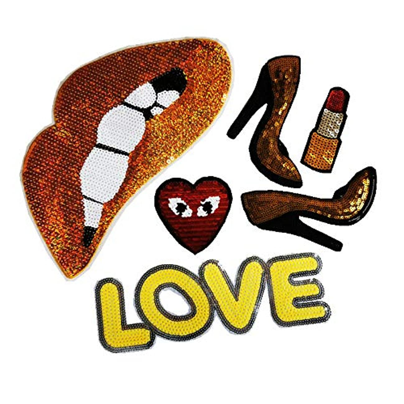 Peach Heart Sequins Lip Shoes Embroidered Iron Embroidery Badge Decals (Golden Bronzer)