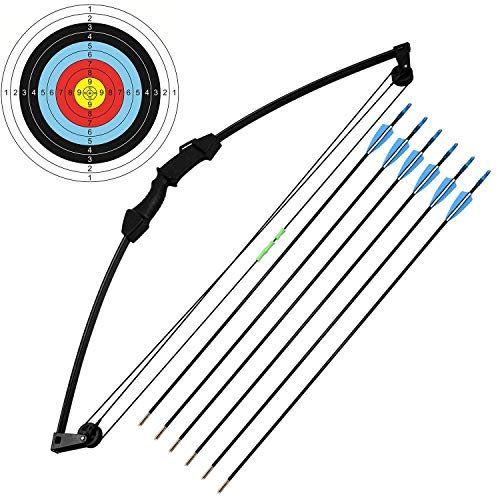 kaimei 35' Junior Compound Bow and Arrow Archery Set Outdoor Sports Game Hunting Toy Gift Bow Kit Set with 6 Arrows 18 Lb for Teens Youth