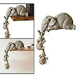 ZLHW Colección de figuras de elefante lindo, decoración de estantes, elefante, elefante, figuras pintadas a mano, madre elefante y dos bebés, adornos colgantes, estatuillas, para la decoración de la o