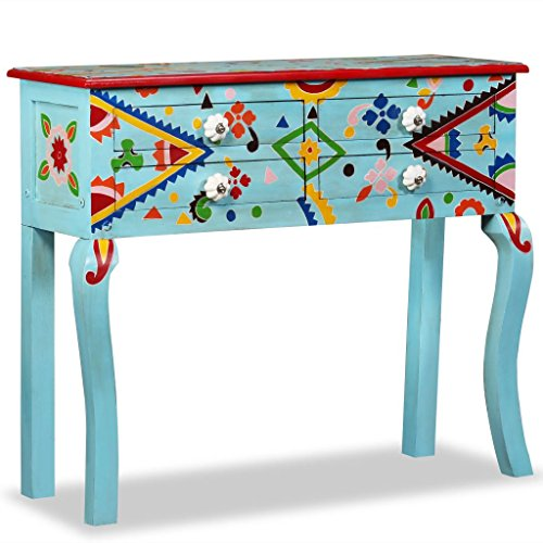 Zora Walter Multi-Coloured Console Table Mango Wood Solid Blue Hand Painted Buffets & Sideboards with 4 Drawers for Bedroom, Living Room
