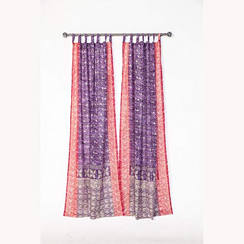"""Light-Filtering Sari Colorful Curtains – Boho Curtains, Bed Canopy Panel, Wall Tapestry or Window Treatment For Bedroom or Living room, Indian Print Curtains + Tote bag (84""""L x 42""""W, Purple Pink)"""