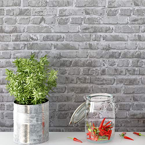 Timeet 17.7' x 78.7' Brick Peel and Stick Wallpaper Self-Adhesive Brick Textured Wallpaper Removable Film for Room Decor,Gray