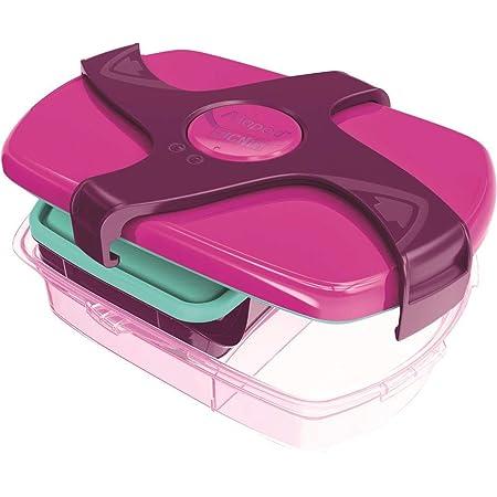 Maped Picnik Concept Boîte à Déjeuner Repas Enfants 3 Compartiments, dont 1 Compartiment Etanche et Amovible Sans BPA ni Phtalates - Rose - 1,7L
