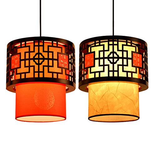 Uonlytech Hängeleuchte Deckenlampe Deckenleuchte Wohnzimmer Esszimmer Vintage Pendelleuchten mit Lampenschirm und Glühbirne Orientalische Lampe Laterne (Gelb) 1PCS