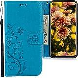 CLM-Tech Hülle kompatibel mit Samsung Galaxy A8s - Tasche aus Kunstleder - Klapphülle mit Ständer & Kartenfächern, Schmetterlinge blau