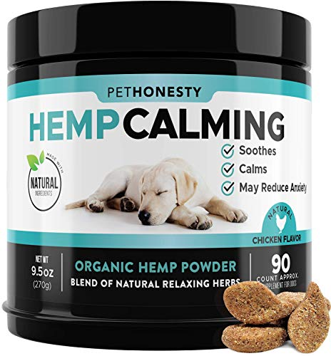 PetHonesty Hemp Calming Treats for Dogs - All-Natural Soothing Snacks with Hemp + Valerian Root, Stress & Dog Anxiety Relief- Aids with Thunder,...