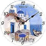 Mancru 1CM Pulgadas de Espesor Vendimia Sin Cubierta Silencio Reloj de Pared Lamentable de Madera Grande y Redondo Sin tictac Reloj de Pared Decoración Reloj 3-35CM