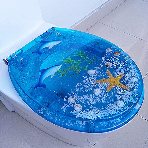 OCEANE 3D Ocean Series Round Toilet Seat, Transparent Fish Aquarium Round Standard Size Toilet Seat with Cover Resin Seats for U/V/O Type Toilet