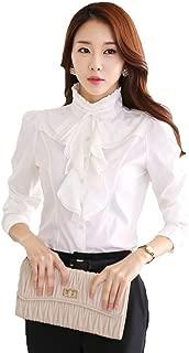 Women's Stand Up Collar Lotus Ruffle Satin Shirt Blouse