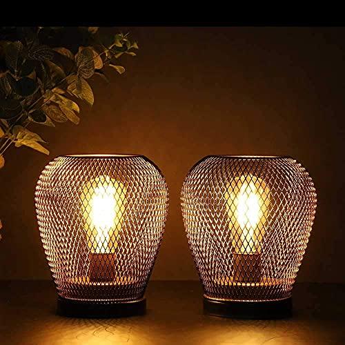 JHY DESIGN Juego de 2 Linterna LED de jaula de metal Bateria cargada Luz de acento inalámbrica con bombilla LED estilo Edsion para bodas Fiestas Patio Eventos Interior exterior (Forma de diamante)