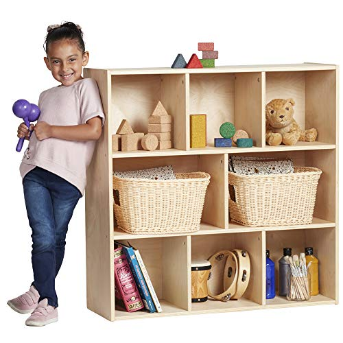 "ECR4Kids Birch Streamline 8-Section Storage Cabinet, Wood Book Shelf Organizer/Toy Storage for Kids, 36"" Tall – Natural"