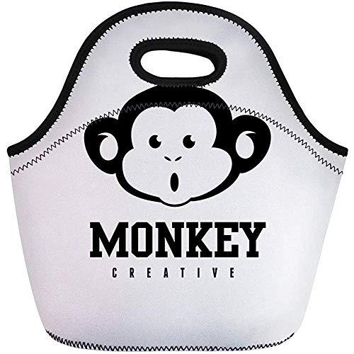 Neopren Lunchtasche,Agentur-Affe-Tieraffe-Marken-Charakter-Kind-Schimpanse-Tragbare Tragetasche,Wiederverwendbare Picknicktaschen,Reise/Büro-Handtasche
