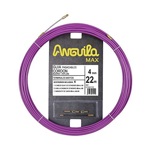 Anguila 65040022 Guía pasacables cordón acero+nylon, Purpura, 22 Metros
