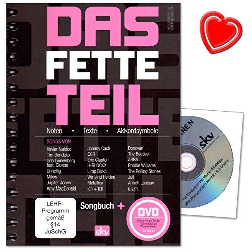 Das fette Teil - Songbook von Sven Kessler Verlag - Leadsheetsammlung von Oldies, Evergreens und Top-Hits - DVD Gitarrenschule für Anfänger ohne Noten und bunter herzförmiger Notenklammer