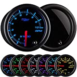 GlowShift Tinted 7 Color 10,000 RPM Tachometer Gauge - for 1 - 10 Cylinder Gas Powered Engines - Black Dial - Smoked Lens - 2-1/16' 52mm