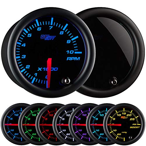 GlowShift Tinted 7 Color 10,000 RPM Tachometer Gauge - for 1-10 Cylinder Gas Powered Engines - Black Dial - Smoked Lens - 2-1/16' 52mm