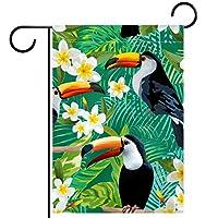 ウェルカムガーデンフラッグ(28x40inch)両面垂直ヤード屋外装飾,鳥の花の葉の枝