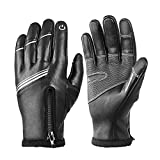 Winter Cycling Gloves, Cold-Proof Gloves for Men and Women, Full-Finger Warmth, Leather Gloves with Touch Screen (XXL)