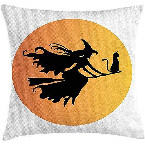 NAN TIAO Funda de cojín de Almohada de Bruja, Silueta Negra Mujer de Cuento de Hadas Volando con su Gato Noche peligrosa Otoño Temporada 18 X 18 Pulgadas, o