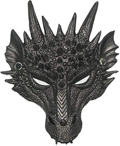 Yolococa Drachen Maske Schwarz Halbes Gesicht Kostüm für Masquerade Ball Halloween Party Karneval Cosplay