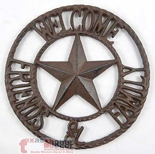 Wall Sign Vintage Antique Style Welcome Friends & Family Cast Iron Texas Star Wall Plaque Sign Rustic Western