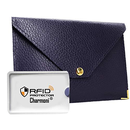 Charmoni - Porte Papiers De Voiture Enveloppe à Bouton Pression Permis De Conduire La Carte Grise En Aspect Cuir Saffiano Mazlum - bleu