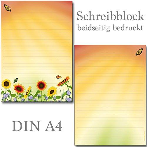 Briefblock-Set Sonnenblumenfeld - 1 Schreibblock mit Linien beidseitig bedruckt DIN A4 + 10 Briefumschläge DIN lang 7460+61250