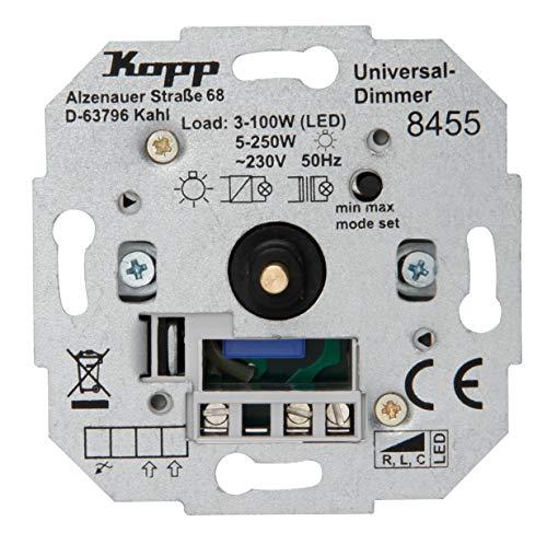 Kopp Universal Druckwechsel-Dimmer Sockel, Phasenan-undPhasenabschitt, LED 3-100 Watt, Glühlampen 10-250 W, 845500181