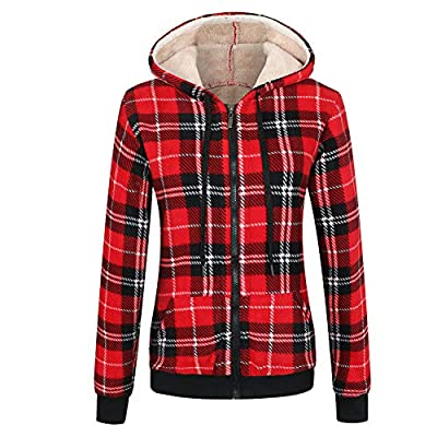 ZENTHACE Women's Sherpa Lined Zip Up Hooded Plaid Shirt Jac Sweater Jacket Red S