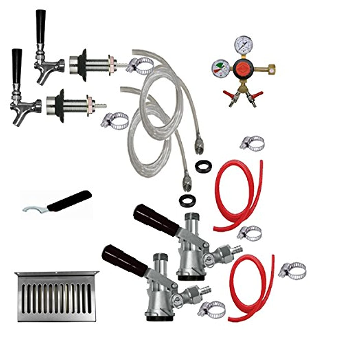Bev Rite CRCK102 Premium Refrigerator Conversion Kit Door Mount Keg Tap Beer Double Line, without CO2 Tank, Clear
