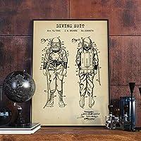 artaslf スイミングパテントプリントスチームパンクビンテージポスター航海装飾ダイビングスーツ設計図アートキャンバス絵画壁写真ダイバーギフト-50x70cm非フレーム