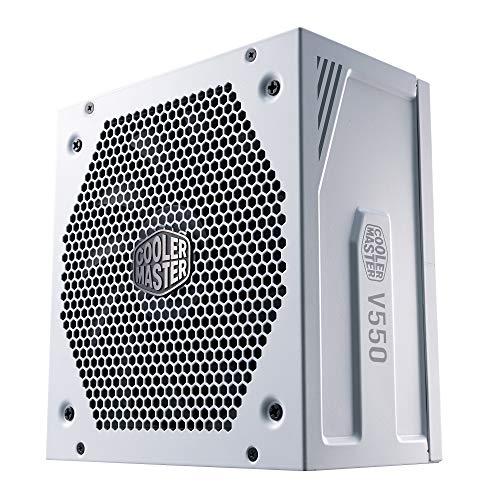 Cooler Master Alimentatore V550 Gold V2, Presa EU, 550 W, 80 Plus Gold, Modulare, PSU ATX, Ventola FDB Silenziosa 135mm, modalità Semi-Fanless, Garanzia 10 Anni, Cavi PCI-e 16 AWG, White Edition